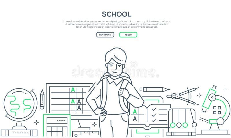 Szkoła - nowożytny kreskowy projekta stylu sieci sztandar ilustracja wektor