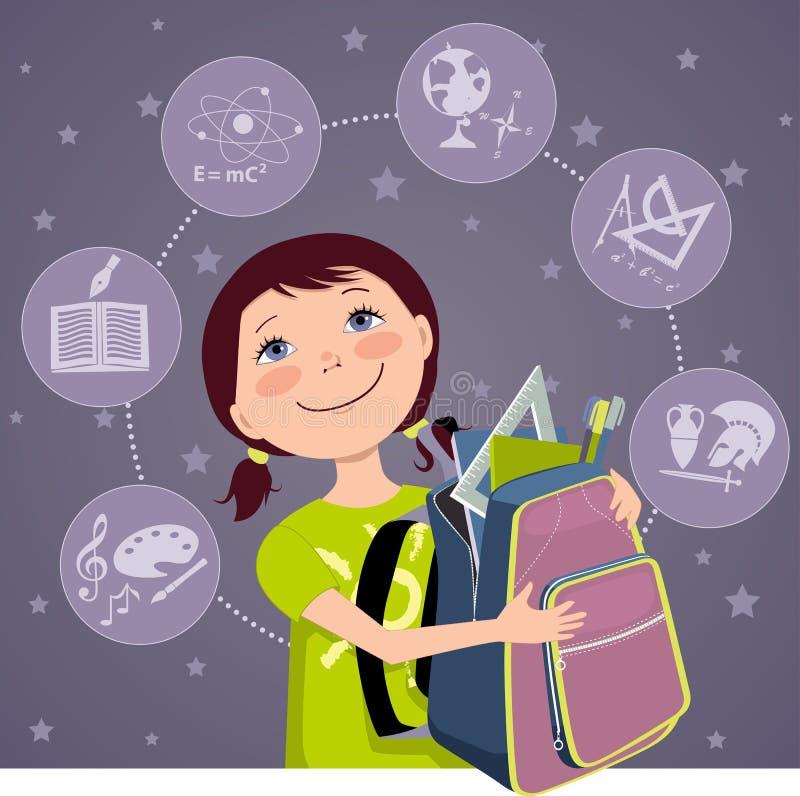 Szkoła podstawowa uczeń ilustracji
