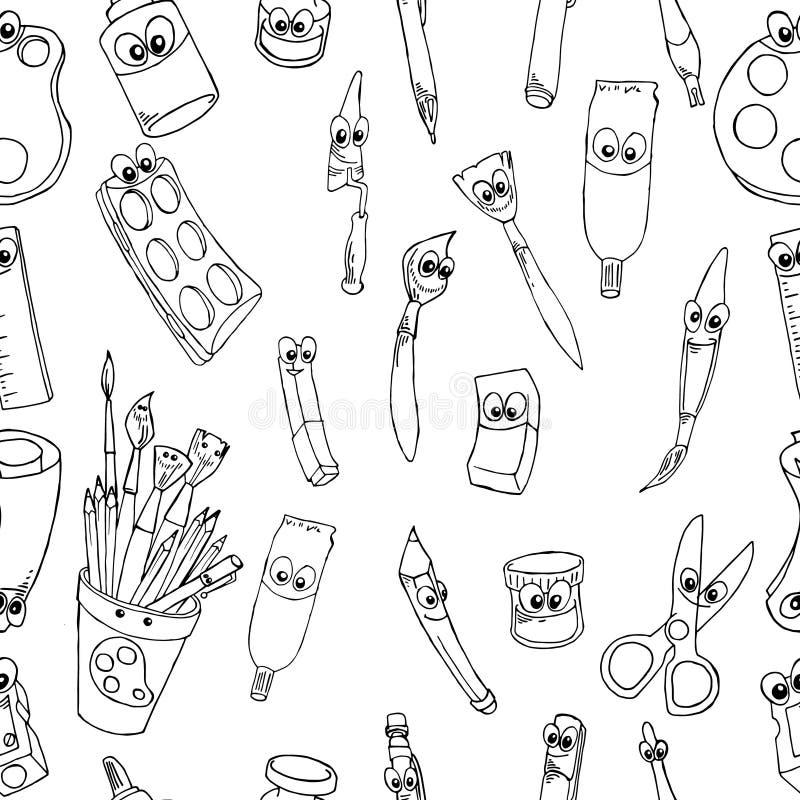 Szkoła postać z kreskówki materiały: Ołówek, Balowy pióro, ostrzarka, władca, gumka bezszwowy wzór ilustracji