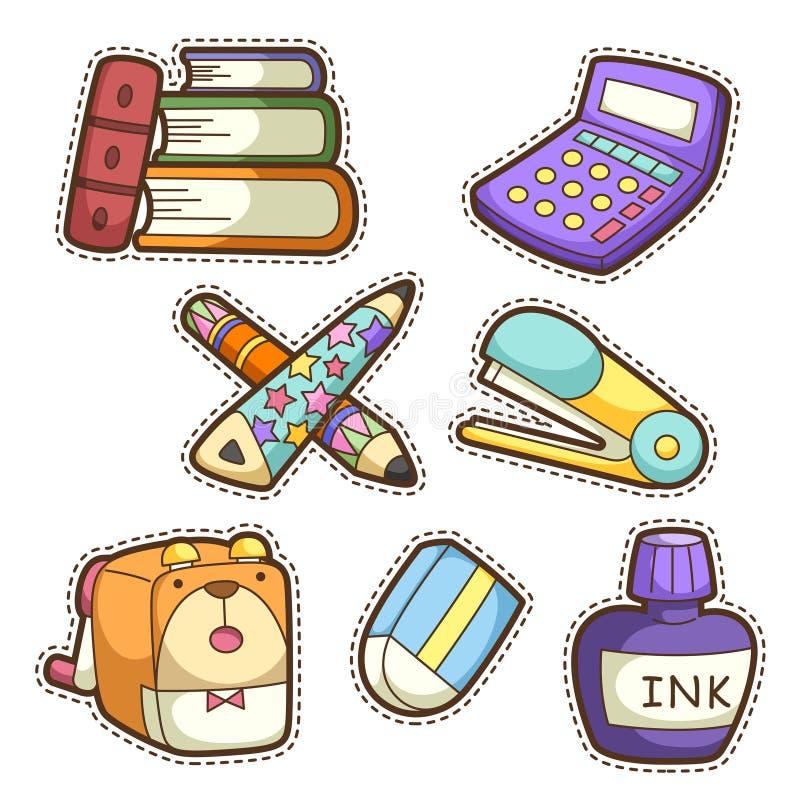 Szkoła set. set różne szkolne rzeczy royalty ilustracja