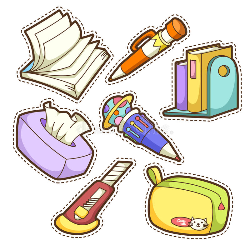 Szkoła set. set różne szkolne rzeczy ilustracja wektor