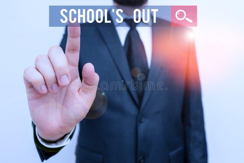 Szkoła SMS pisma ręcznego jest wyłączona Koncepcja oznacza, że zajęcia kończą się na koniec dnia szkolnego zdjęcie stock