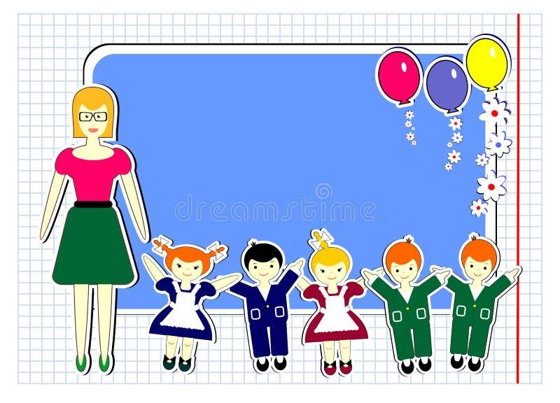 szkoła, szczęśliwi dzieci, nauczyciel, dosyć śmieszni szczęśliwi dzieci, balony, kwiaty, royalty ilustracja