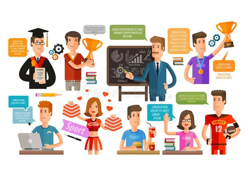 Szkoła, szkoła wyższa lub uczeń, nauczyciel ustawiający ikony również zwrócić corel ilustracji wektora ilustracji