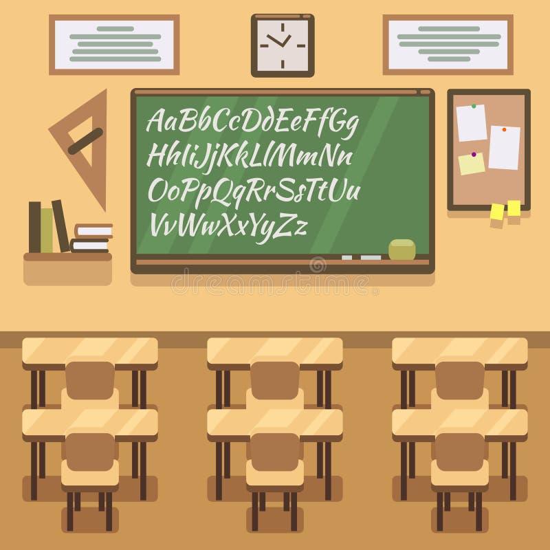 Szkoła, uniwersytet, instytut, szkoły wyższa sala lekcyjna z chalkboard i biurko, Wektorowa płaska ilustracja royalty ilustracja