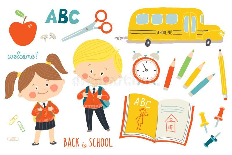 Szkoła ustawiająca: charaktery i przedmioty Dzieci w mundurkach szkolnych z plecakami Autobus szkolny, szkolne dostawy Edukacja royalty ilustracja