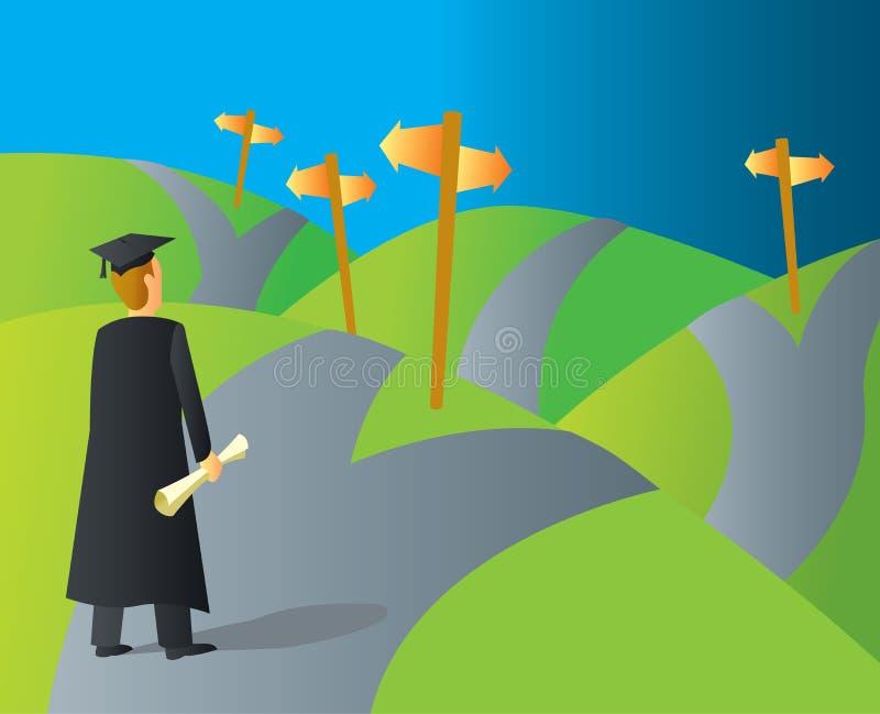 Szkoła wyższa absolwenta kariery ścieżki royalty ilustracja