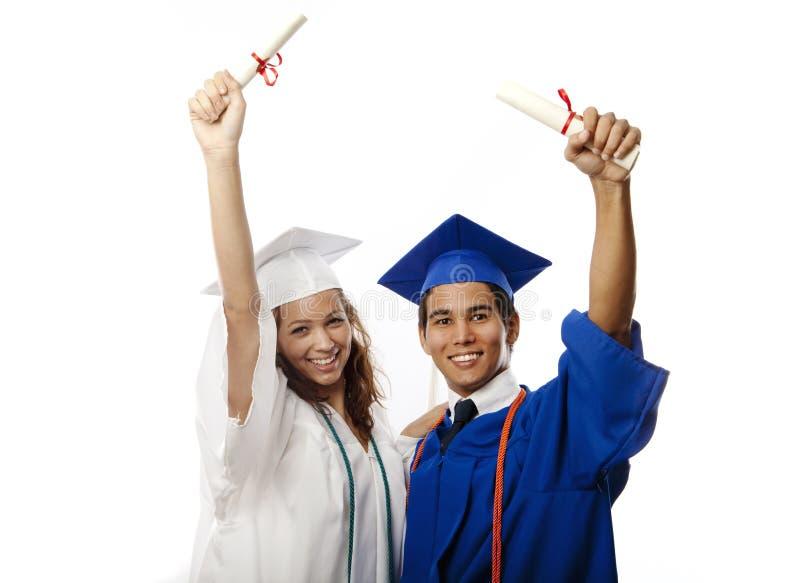 szkoła wyższa kobieta kończyć studia samiec zdjęcie royalty free