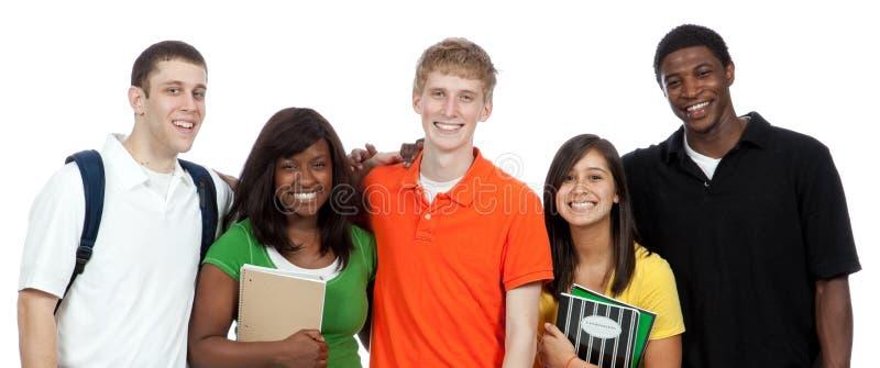 szkoła wyższa przyjaciół wielokulturowi ucznie fotografia stock