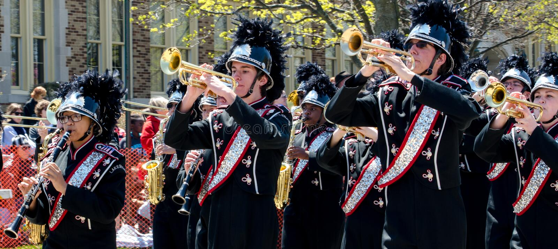Szkoły średniej orkiestra marsszowa obraz royalty free