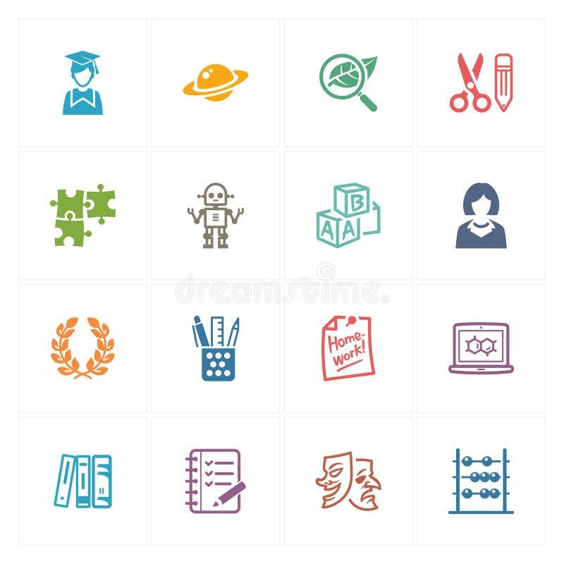 Szkoły & edukaci ikony Ustawiają 5 - Barwione serie ilustracja wektor