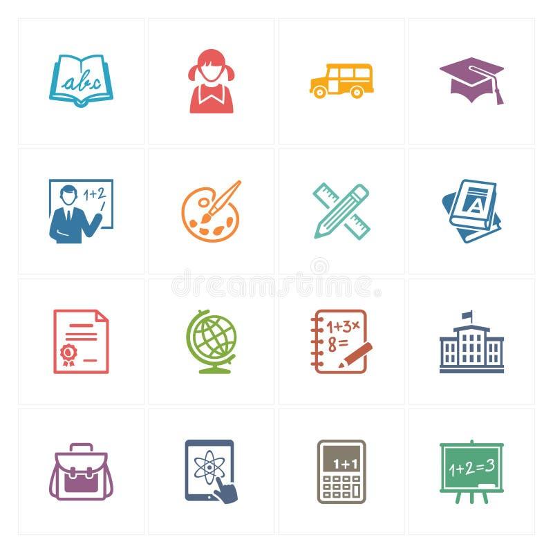 Szkoły & edukaci ikony Ustawiają 1 - Barwione serie ilustracja wektor