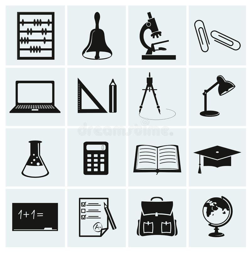 Szkoły i edukaci ikony. ilustracji
