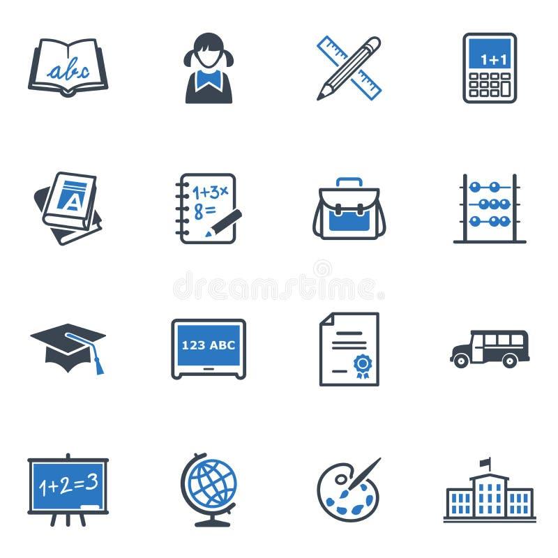 Szkoły i edukaci ikony Ustawiają 1 - Błękitne serie ilustracji