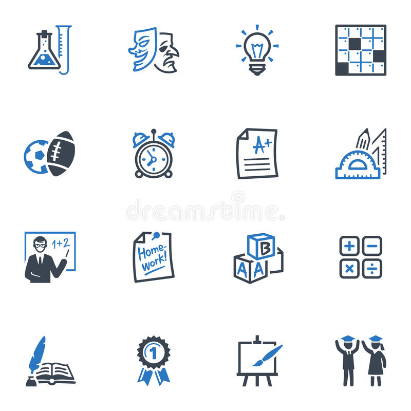 Szkoły i edukaci ikony Ustawiają 4 - Błękitne serie ilustracja wektor