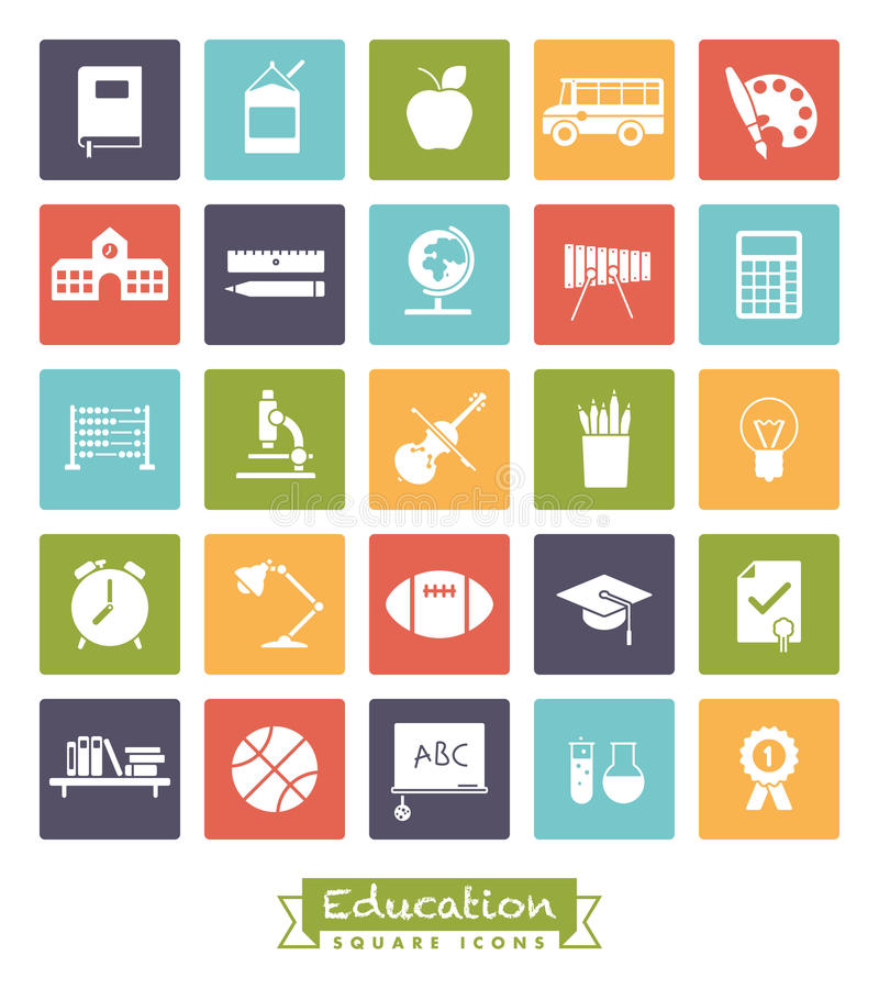 Szkoły i edukacja kwadrata koloru ikony set ilustracja wektor