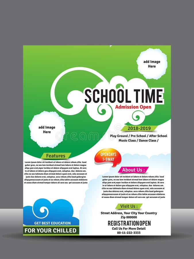 Szkoły lub kolażu ulotka lub plakatowy projekta szablon ilustracja wektor