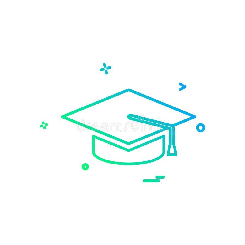 Szkoły wyższa edukaci skalowania nakrętki ikony wektoru kapeluszowy uniwersytecki desi royalty ilustracja