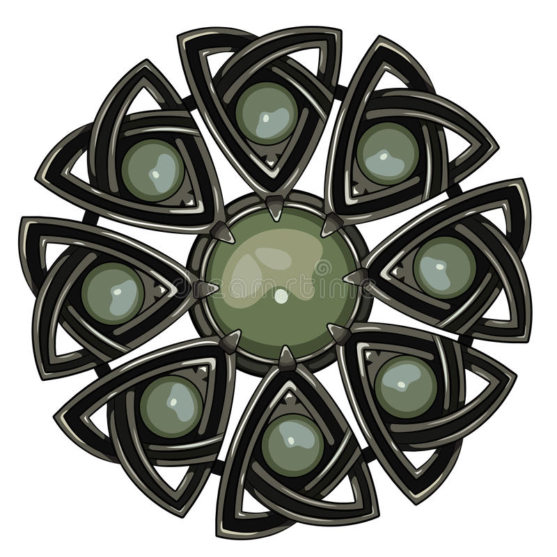 Szkocka broszka Spadek Szkoccy rycerze Dekorujący z zielonym agatem royalty ilustracja
