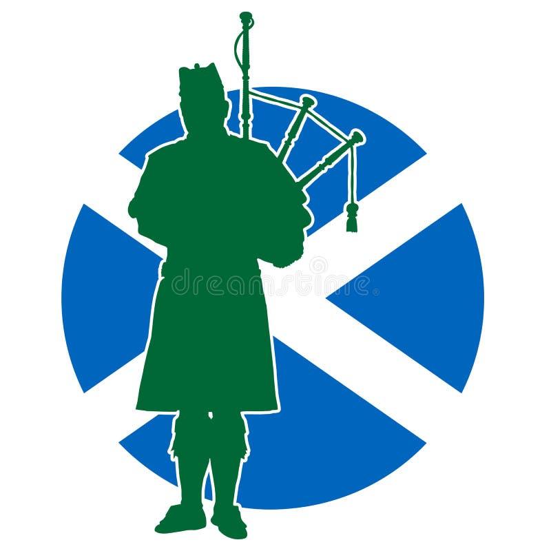 Szkocka dudziarz flaga ilustracja wektor