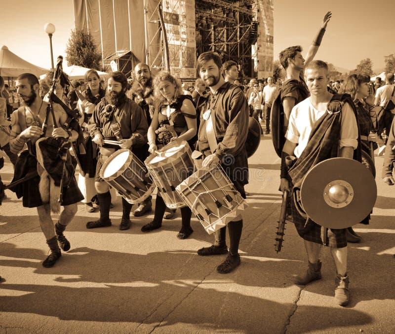 Szkocka grupa przy Lucca komiczkami 2014 i grami zdjęcia royalty free