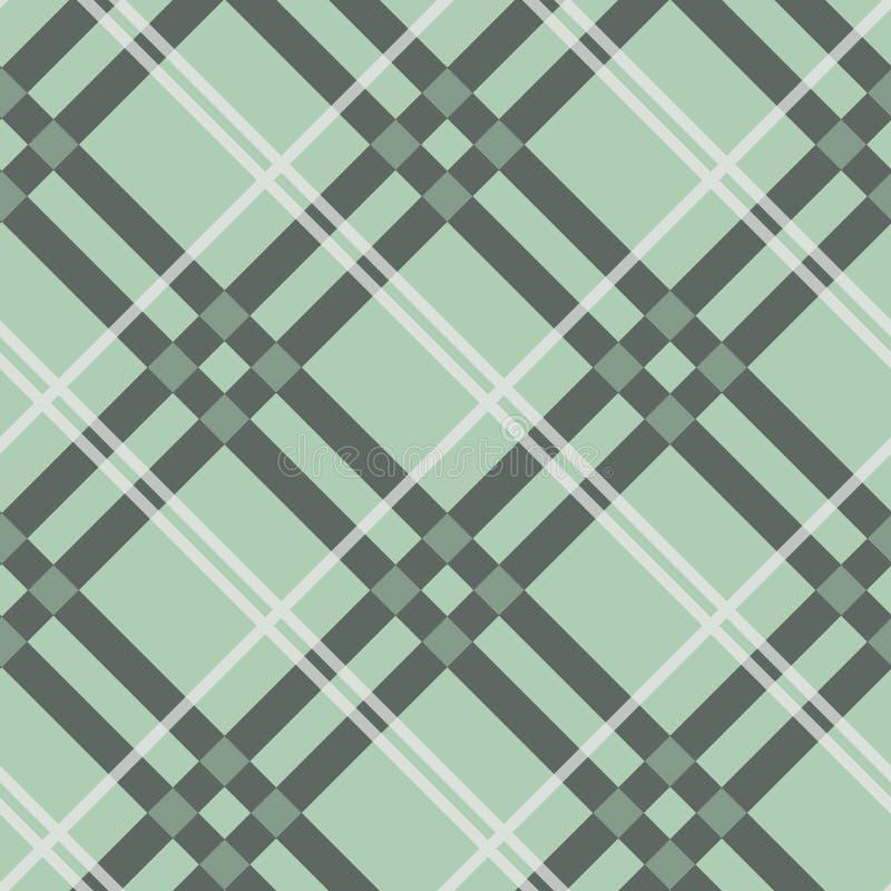 Szkocka krata czeka wzór w beżu, bielu, zakurzonej cyraneczki zieleni i szarawym błękicie, Bezszwowy tkaniny tekstury druk ilustracja wektor
