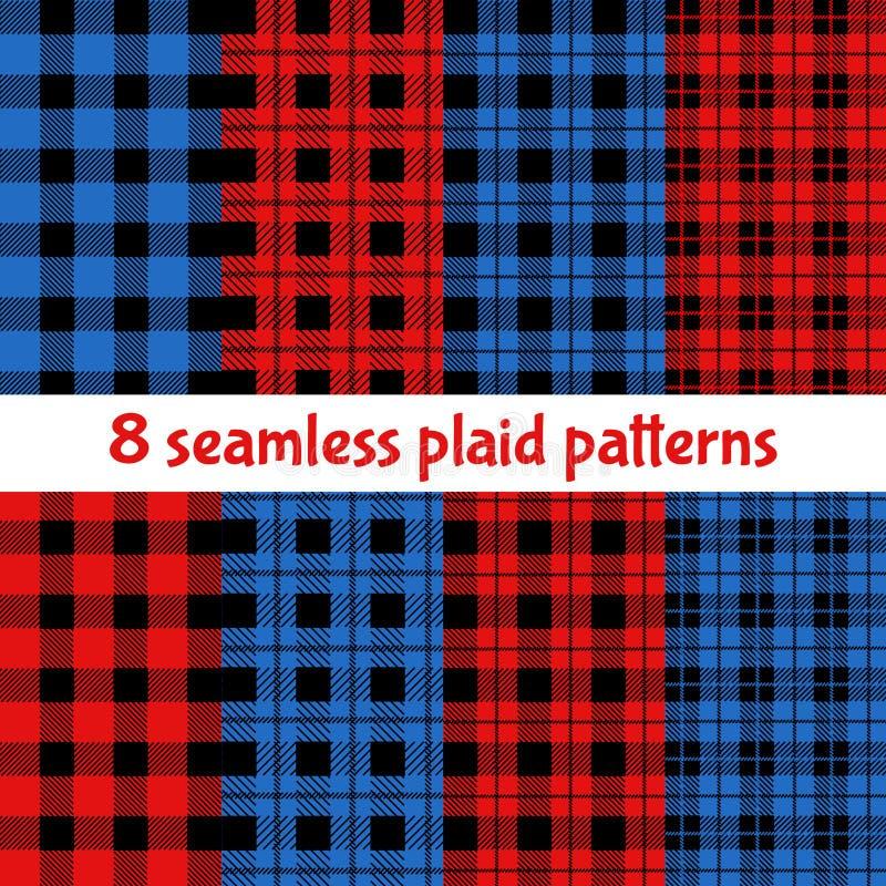 Szkocka krata i Bawoli czeków wzory Rewolucjonistka, czerń, wzory, Beżowi szkockiej kraty, tartanu i Gingham, ilustracja wektor