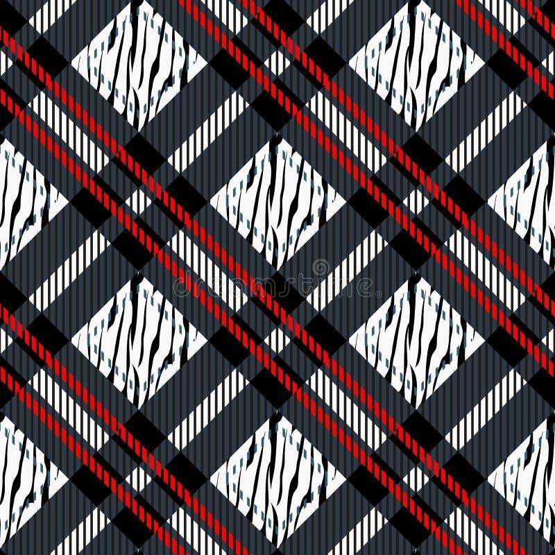 Szkocka krata, tartan bezszwowy z zebra lampasów wzorem Zebra druk, zwierzęca skóra, tygrysów lampasy, abstrakta wzór, tkanina Za ilustracji