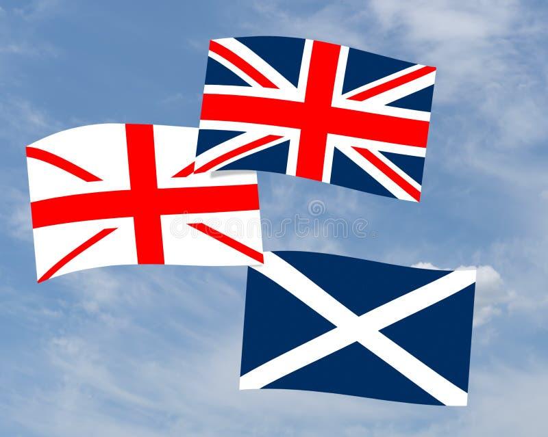 Szkocka przekazanie flaga Union Jack, saltire -, etc ilustracja wektor