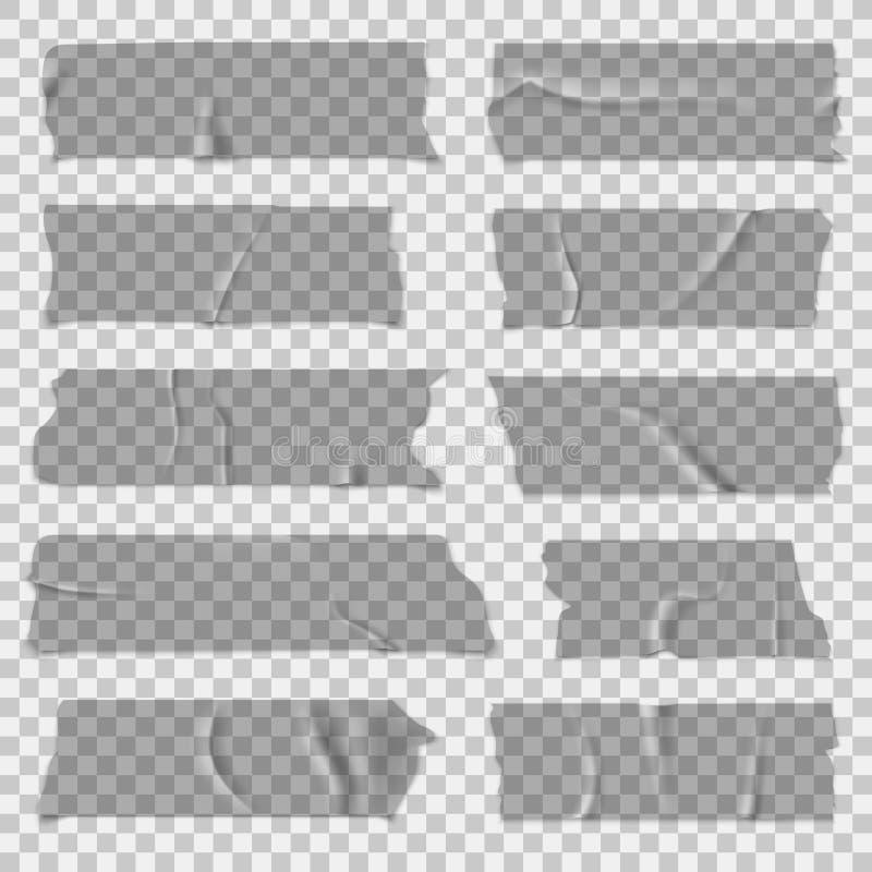 Szkocka taśma Przejrzyste adhezyjne taśmy, kleiści kawałki Odosobniony wektoru set ilustracja wektor