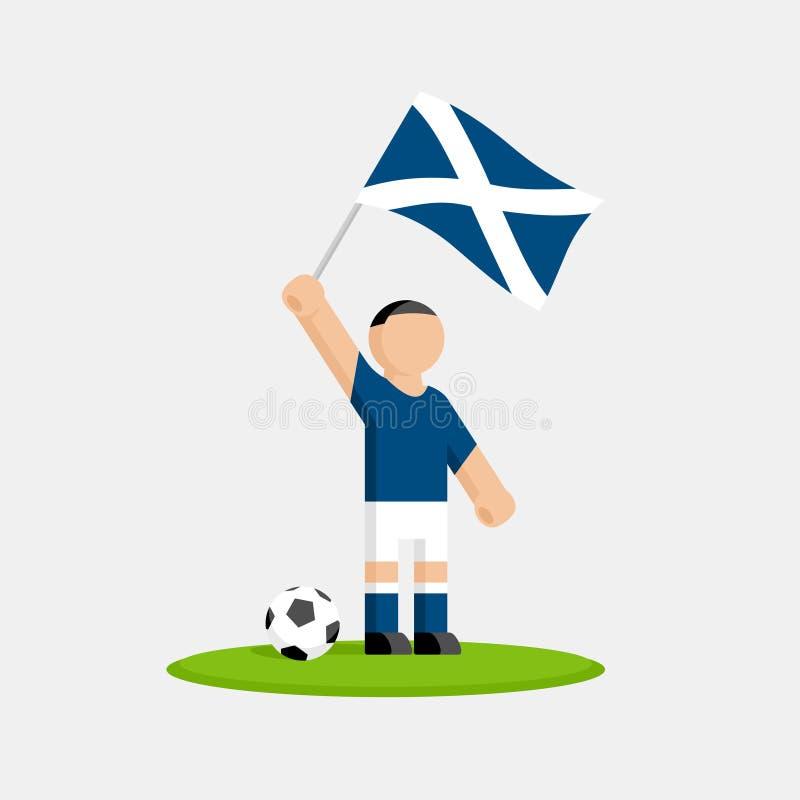 Szkocki gracz piłki nożnej w zestawie z flaga i piłką royalty ilustracja