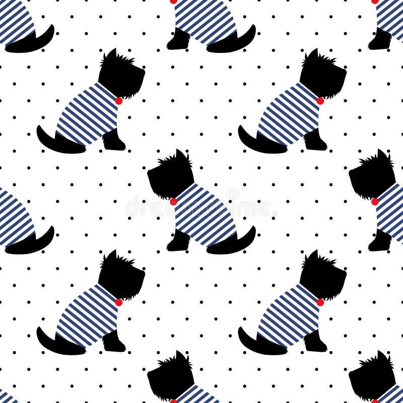 Szkocki terier w żeglarz koszulki bezszwowym wzorze Siedzieć psy na białym polek kropek tle ilustracja wektor