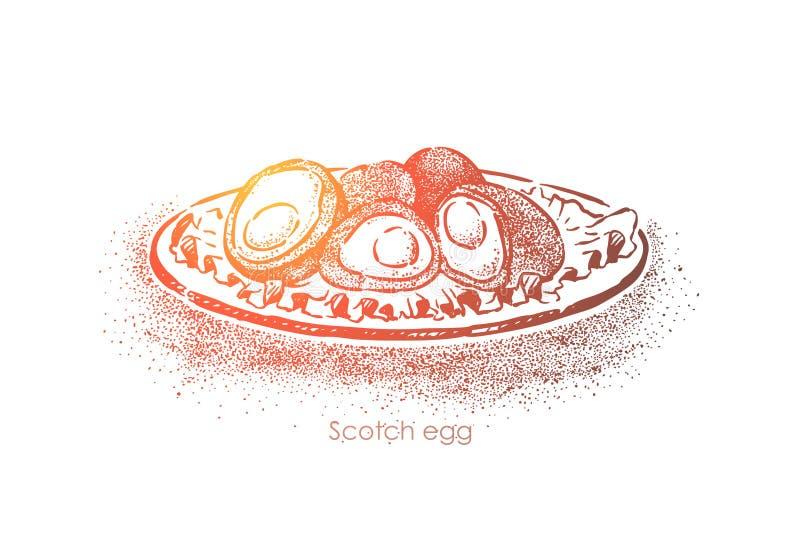 Szkocki tradycyjny jedzenie, brytyjski kuchni naczynie, gotowany jajko mażący w minced mięsie i smażący w breadcrumbs royalty ilustracja