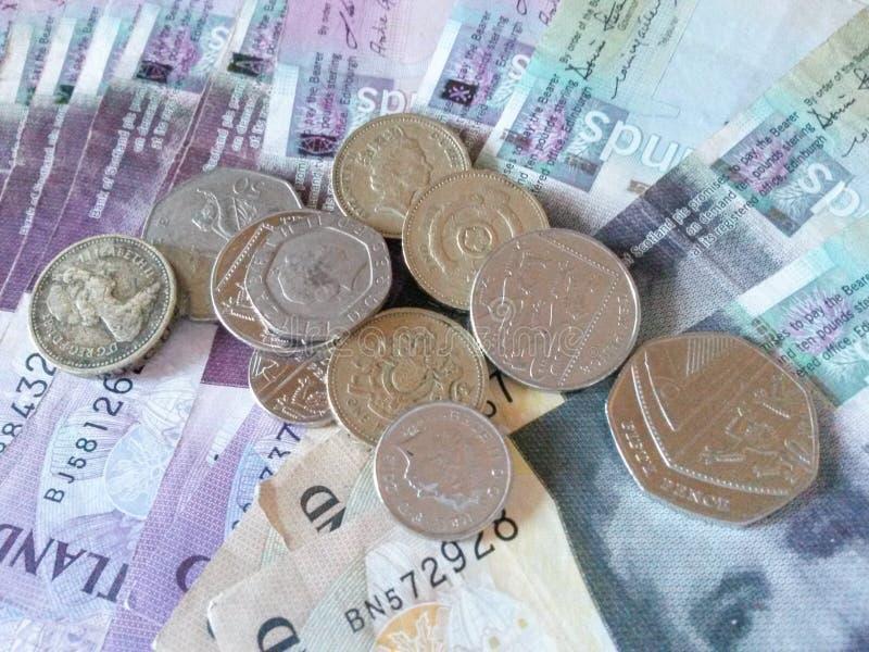 Szkockie funt notatki, monety i obraz royalty free