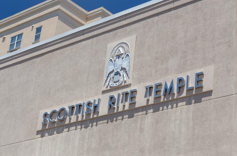 Szkockiego obrządku Świątynna powierzchowność i logo zdjęcia stock