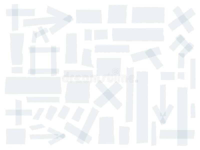Szkockiej, adhezyjnej taśmy kolekcja, różni rozmiarów kawałki odizolowywający na białym tle kreskówki serc biegunowy setu wektor ilustracja wektor