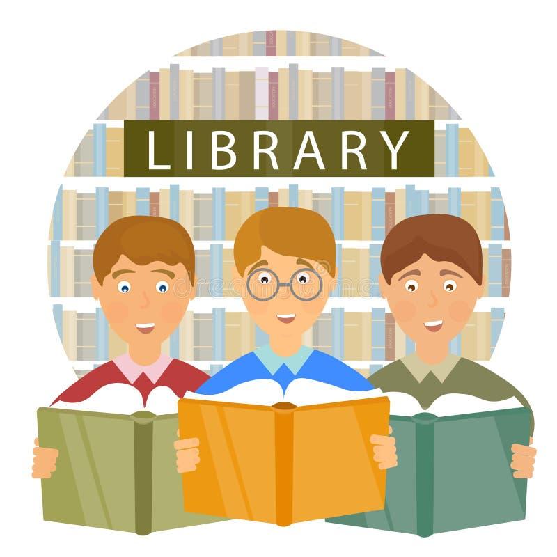 Szkolna biblioteka, dzieci czyta książki ilustracja wektor