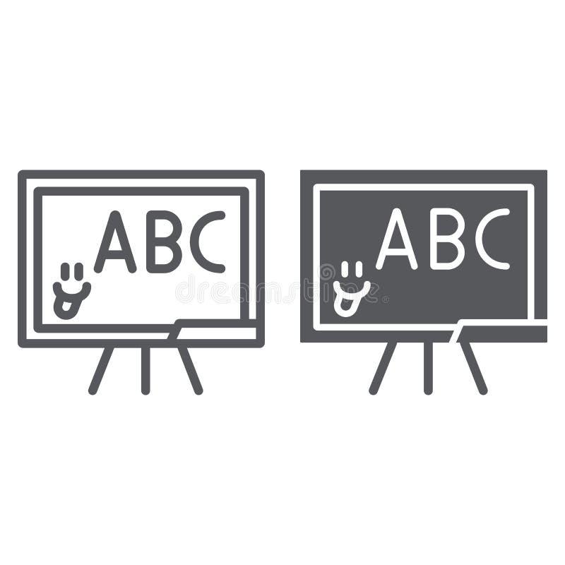 Szkolna blackboard linia, glif ikona, szkoła i sala lekcyjna uczy deska znaka, wektorowe grafika, liniowy wzór na a ilustracja wektor