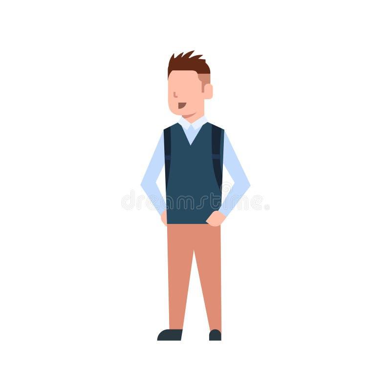 Szkolna chłopiec Z plecaka ucznia Uczniowskim dzieciakiem Jest ubranym mundur Odizolowywającego ilustracji