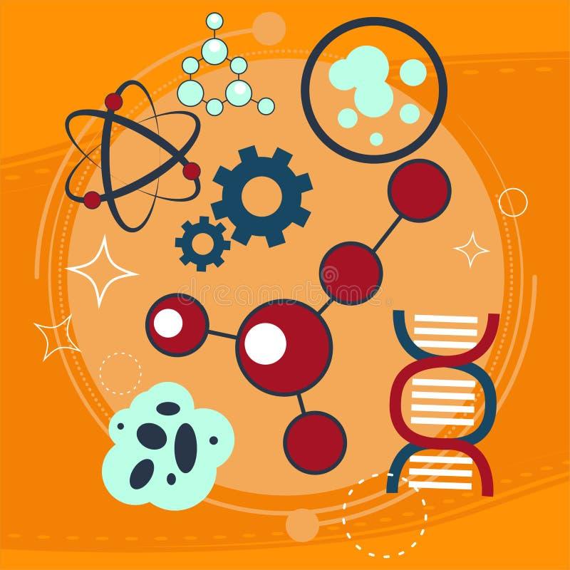Szkolna chemia Tubki w ogieniu Napromienianie i krzewienie molekuły royalty ilustracja