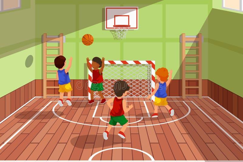 Szkolna drużyna koszykarska bawić się grę Dzieciaki bawić się, wektorowa ilustracja ilustracji