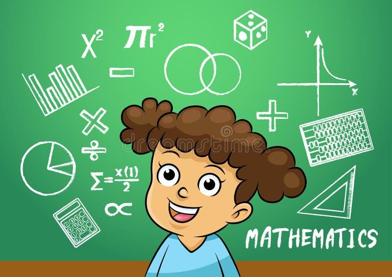 Szkolna dziewczyna pisze matematyka znaka przedmiocie w szkolnym blackboard royalty ilustracja