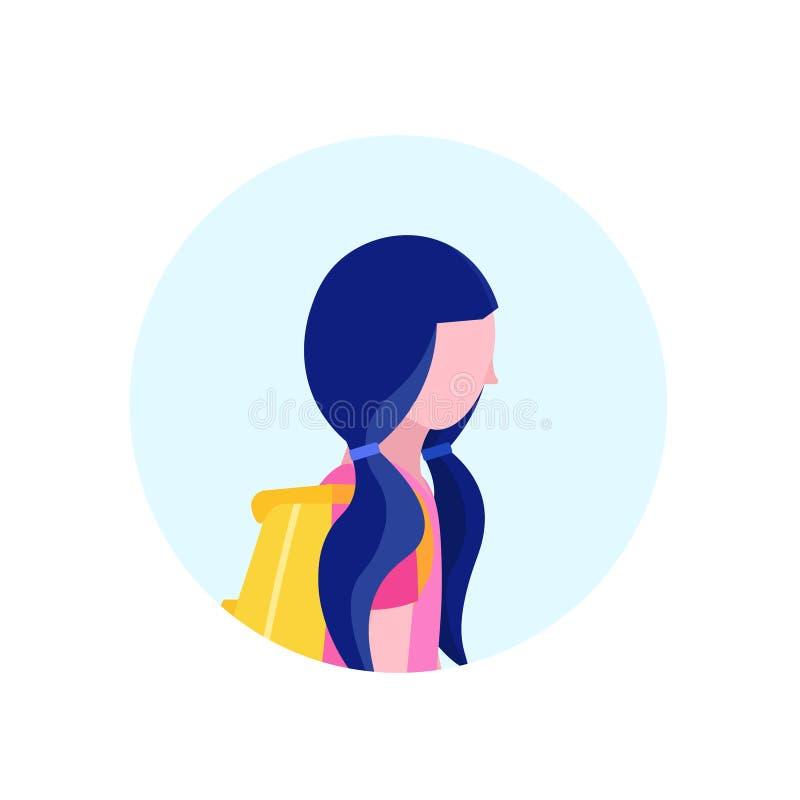 Szkolna dziewczyna profilu avatar ikona odizolowywał żeńskiego postać z kreskówki portreta mieszkanie royalty ilustracja