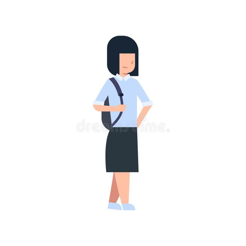 Szkolna dziewczyna Z plecak Odizolowywającą Śliczną Kaukaską uczennicą Jest ubranym mundur ilustracja wektor