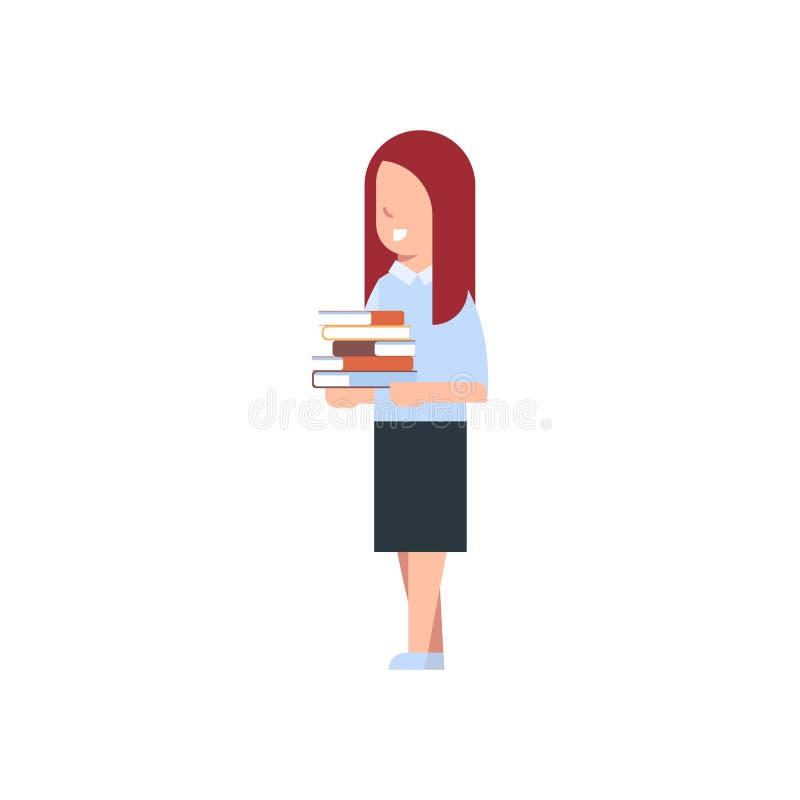 Szkolna dziewczyny mienia sterta książki Odizolowywał Ślicznej Kaukaskiej uczennicy Jest ubranym mundur royalty ilustracja