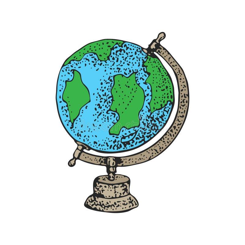 Szkolna geografii kuli ziemskiej kreskówki wektoru ilustracja Ziemia, światowa mapa Edukaci pojęcie, odizolowywający na białym tl ilustracji