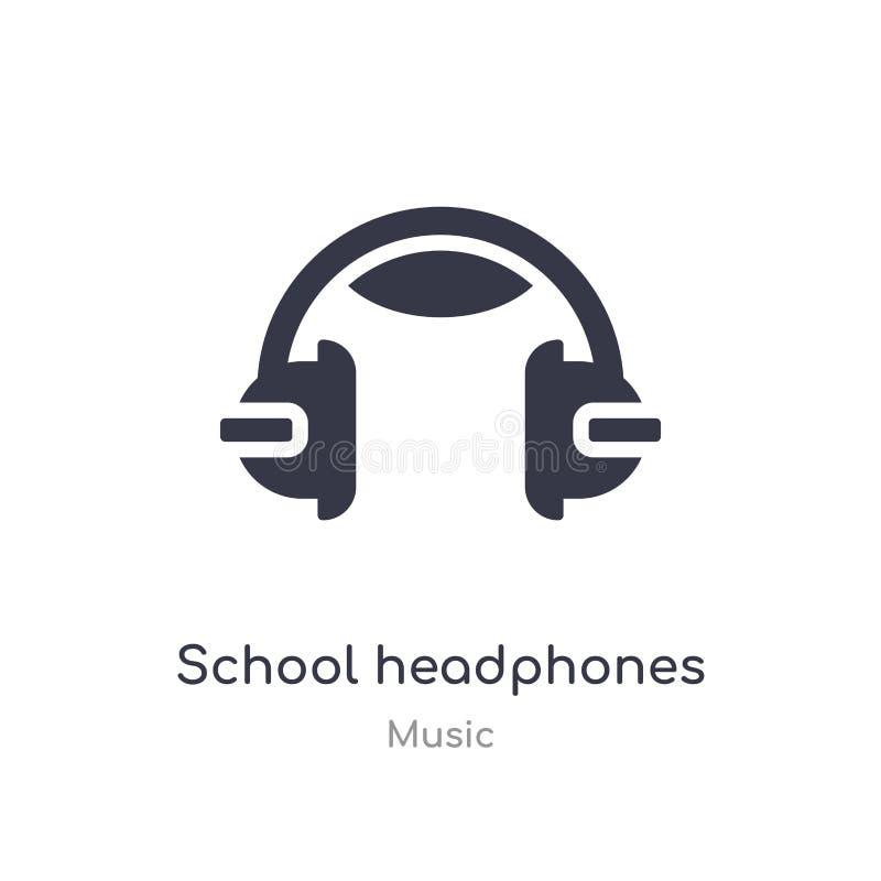 szkolna hełmofonu konturu ikona odosobniona kreskowa wektorowa ilustracja od muzycznej kolekcji editable ciency uderzenie szkoły  ilustracja wektor