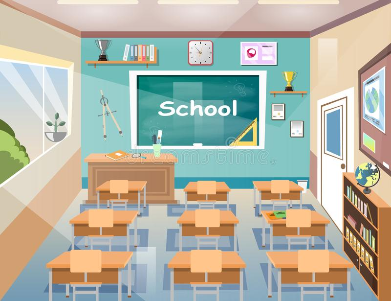 Szkolna klasowego pokoju wnętrza deska ilustracja wektor