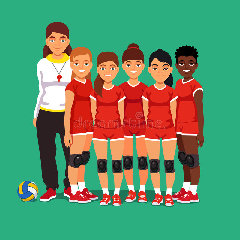 Szkolna kobiety siatkówki drużyna ilustracja wektor