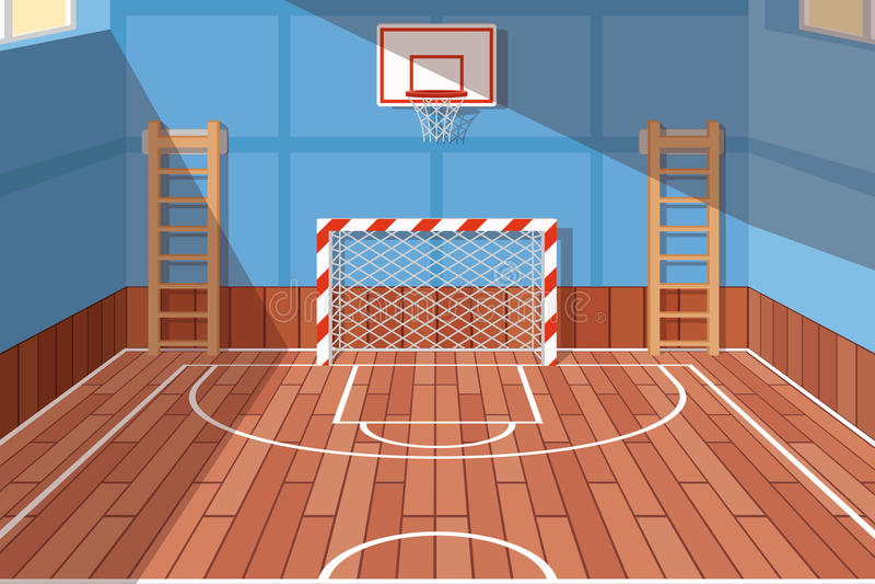 Szkolna lub uniwersytecka gym sala royalty ilustracja